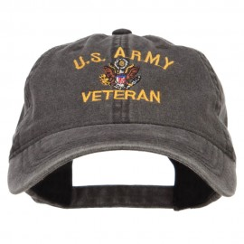 US Army Veteran Military Embroidered Washed Cap - Black