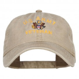 US Army Veteran Military Embroidered Washed Cap - Khaki