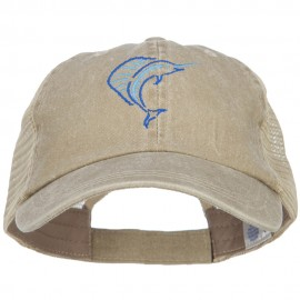 Blue Marlin Outline Embroidered Washed Trucker Cap