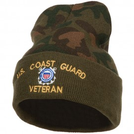 US Coast Guard Veteran Military Embroidered Camo Long Beanie
