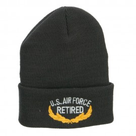 US Air Force Retired Emblem Embroidered Long Beanie