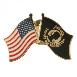 USA Flag Cloisonne Military Pins - Black Gold