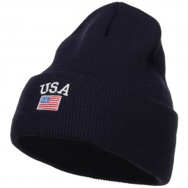 USA with Flag Embroidery Insulated Long Beanie