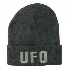UFO Embroidered Long Beanie - Grey