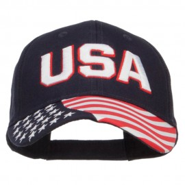 3D USA Flag Cotton Twill Cap - Navy