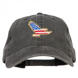 Eagle USA Flag Embroidered Washed Buckle Cap