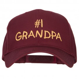 Number 1 Grandpa Letters Embroidered Solid Cotton Pro Style Cap