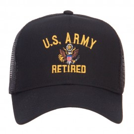 US Army Retired Military Embroidered Mesh Cap - Black