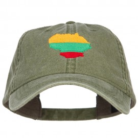 Lithuania Map Flag Embroidered Washed Cap