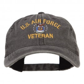 US Air Force Veteran Military Embroidered Washed Cap - Black