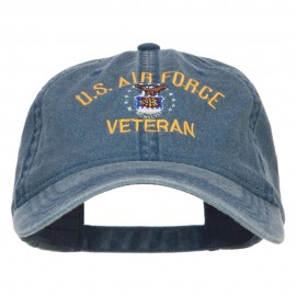 US Air Force Veteran Military Embroidered Washed Cap - Navy