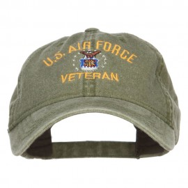 US Air Force Veteran Military Embroidered Washed Cap - Olive
