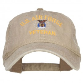 US Air Force Veteran Military Embroidered Washed Cap - Khaki