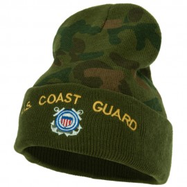 US Coast Guard Logo Embroidered Camo Long Beanie