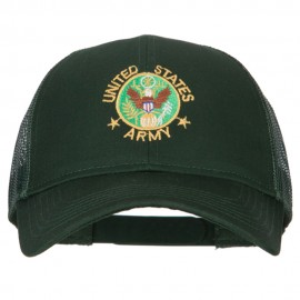 US Army Circle Symbol Embroidered Solid Cotton Mesh Pro Cap