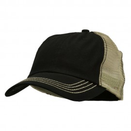 Cotton Twill Wash Trucker Cap - Black Khaki