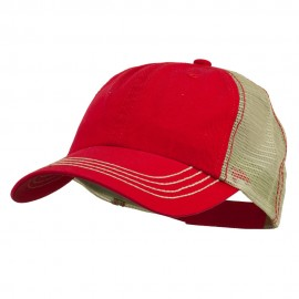 Cotton Twill Wash Trucker Cap - Red Khaki