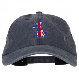 United Kingdom Flag Map Embroidered Washed Cotton Twill Cap