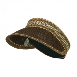 UPF 50+ Multi Colored Tribal Paper Braid Visor - Brown