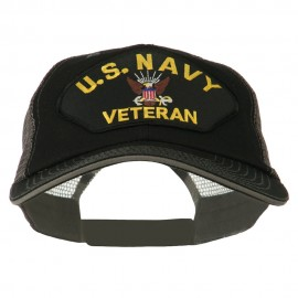 US Navy Veteran Military Patched Big Size Washed Mesh Cap - Black Grey