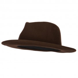 Unisex Wool Felt Twisted Suede Trim Band Accented Fedora Hat