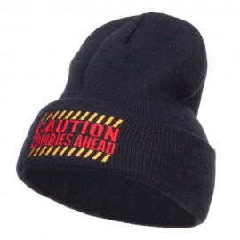 Caution Zombies Ahead Embroidered Long Beanie