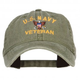 US Navy Veteran Military Embroidered Washed Cap - Olive