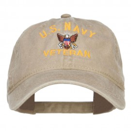 US Navy Veteran Military Embroidered Washed Cap - Khaki
