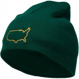 United States Outline Map Embroidered Short Beanie
