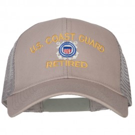 US Coast Guard Retired Embroidered Solid Cotton Mesh Pro Cap
