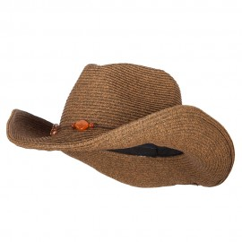 UPF 50+ Women's Beads Accented Paper Braid Cowboy Hat