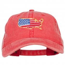 USA Map Flag Embroidered Washed Buckle Cap