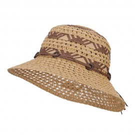 Straw Braid Coconut Beaded Bucket Hat