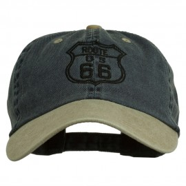 US Route 66 Embroidered Pigment Dyed Washed Cap - Navy Khaki