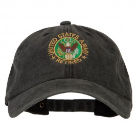 US Army Retired Circle Embroidered Washed Cotton Twill Cap - Black