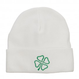 Irish Clover Embroidered Big Size Long Beanie - White