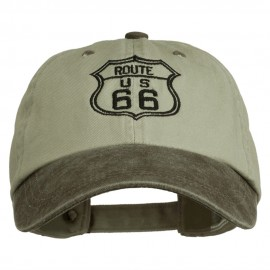 US Route 66 Embroidered Pigment Dyed Washed Cap - Brown