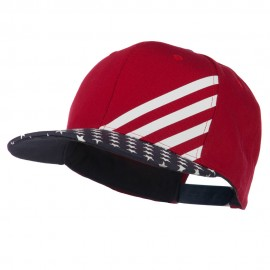 Cotton Twill Flat Bill Snapback USA Flag Cap