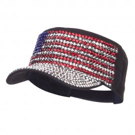 USA Flag Jewel Military Cap
