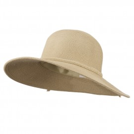 UPF 50+ Solid Cotton Paper Braid Flat Brim Hat