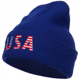 American USA Flag Embroidered Long Beanie
