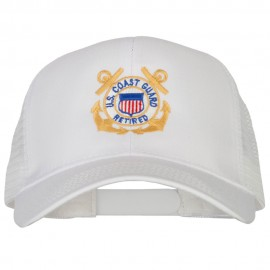 US Coast Guard Retired Anchors Embroidered Solid Cotton Mesh Pro Cap