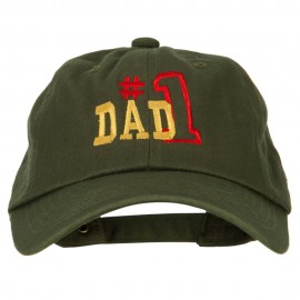 Number 1 Dad Outline Words Embroidered Unstructured Dyed Cotton Cap