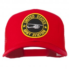 US Army Aviation Patched Mesh Cap - Red