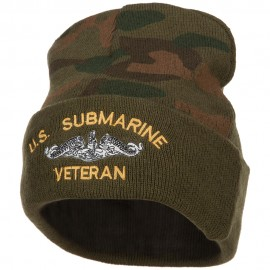 US Submarine Veteran Military Embroidered Camo Long Beanie