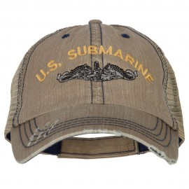US Submarine Embroidered Low Profile Cotton Mesh Cap