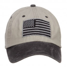 Silver American Flag Embroidered Washed Two Tone Cap