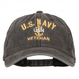 USN Veteran Military Embroidered Washed Cotton Twill Cap