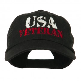 USA Veteran Camo Embroidered Cap - Black