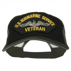 US Submarine Service Veteran Patched Big Size Washed Mesh Cap